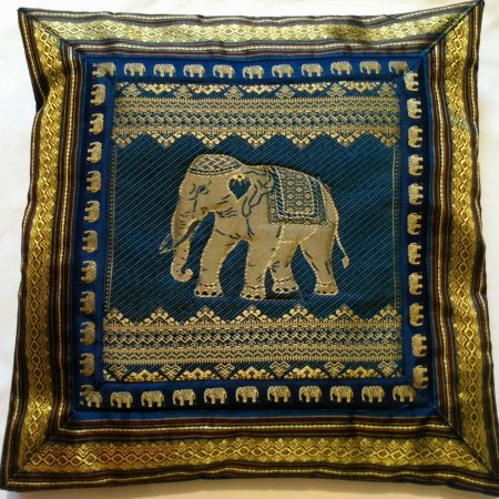 Cushion Cover Elephant Blue & Gold