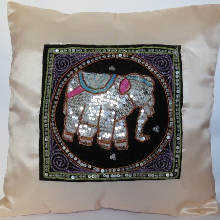 Cushion Cover Elephant Cream Silk RDS