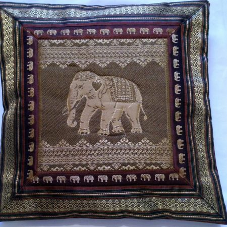 Cushion Cover Elephant   Dark Beige  & Gold