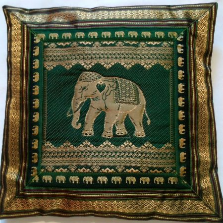 Cushion Cover Elephant  Green & Gold