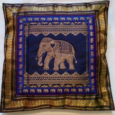 Cushion Cover Elephant  Purple & Gold