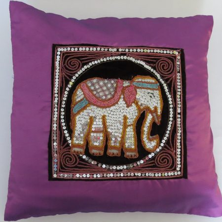 Cushion Cover Elephant Purple Silk RDS