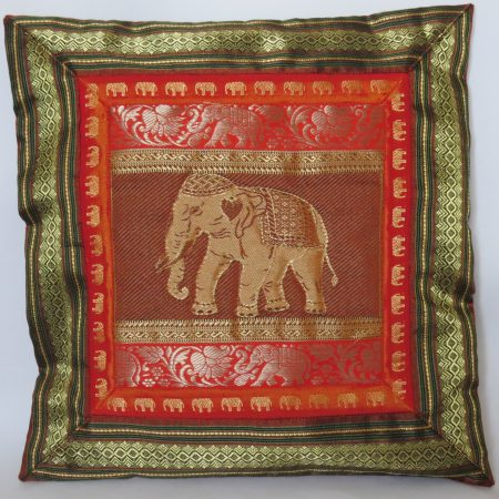 Cushion Cover Elephant  Red & Gold