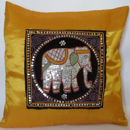 Cushion Cover Elephant Yellow Silk RDS
