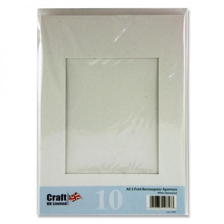 Craft UK A5 3-Fold Hammered White Aperture Cards & Envelopes