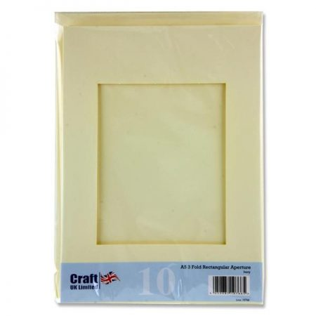 Craft UK A5 3-Fold Smooth Ivory Aperture Cards & Envelopes
