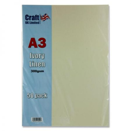 Craft UK Limited A3 Ivory Card Linen Finish