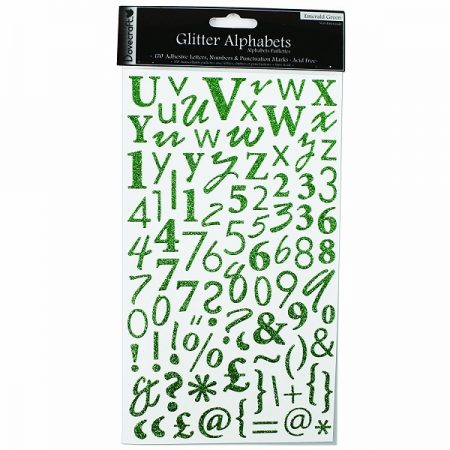 Dovecraft Emerald Green Glitter Alphabet Stickers
