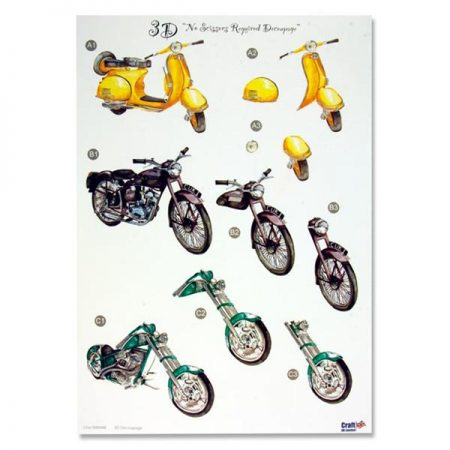 A4 Colourful Decoupage Sheet - Motorbikes