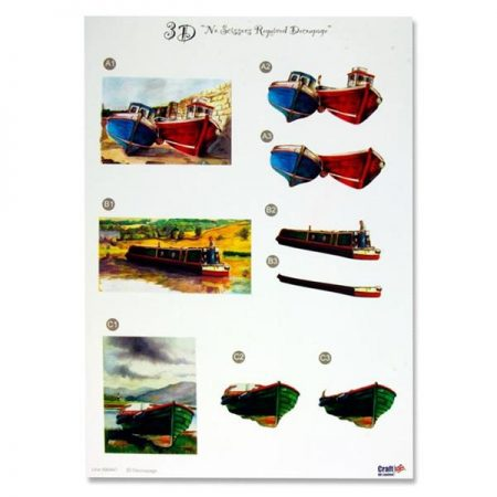 A4 Colourful Decoupage Sheet - Boats