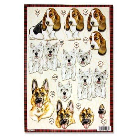 A4 Colourful Dogs Decoupage Sheet – Westie & Alsatian
