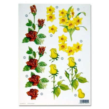 A4 Flowers Colourful Decoupage Sheet – Roses & Daffodils