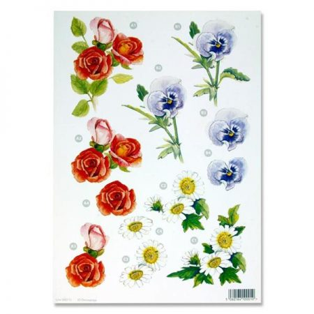 A4 Flowers Colourful Decoupage Sheet – Daisies & Roses