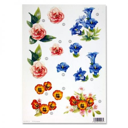 A4 Flowers Colourful Decoupage Sheet – Roses & Pansies