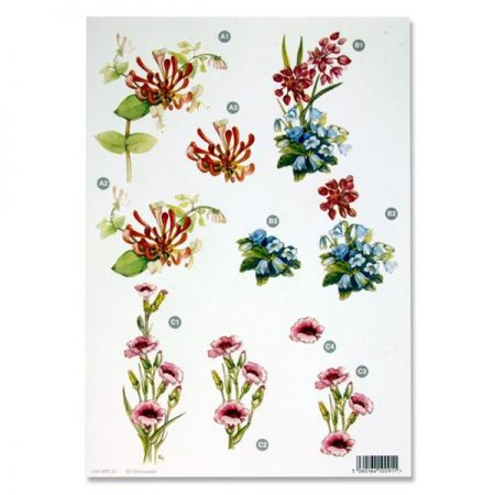 A4 Flowers Colourful Decoupage Sheet – Honeysuckle