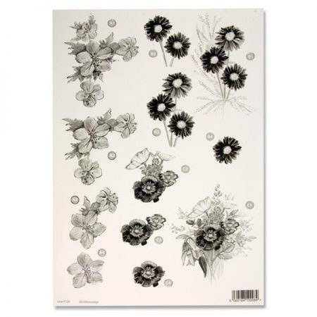 A4 Flowers Monochrome Decoupage Sheet – Flower Arrangements