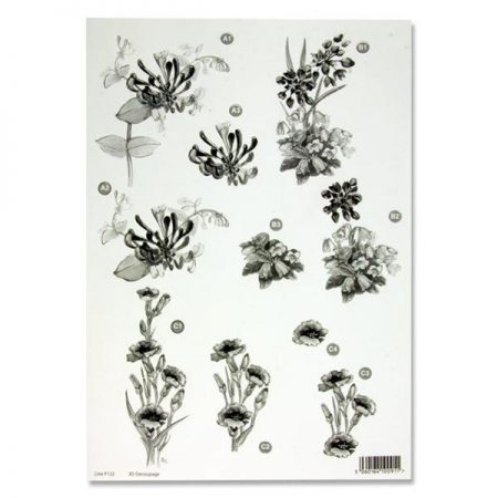 A4 Flowers Monochrome Decoupage Sheet – Honeysuckle