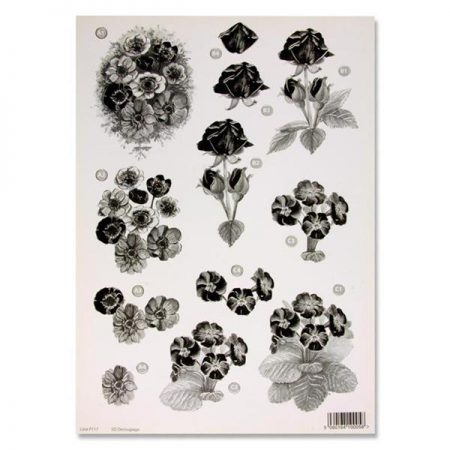 A4 Flowers Monochrome Decoupage Sheet – Daisies & Roses