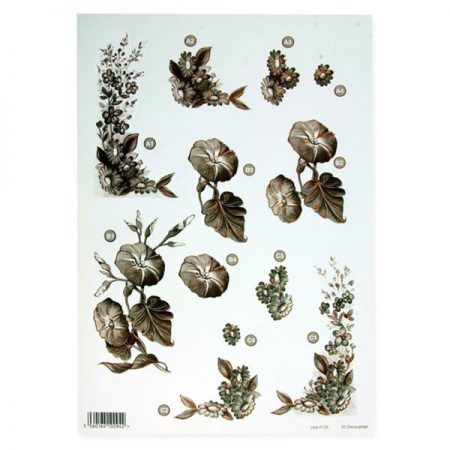 A4 Flowers Sepia Decoupage Sheet – Mixed Flowers