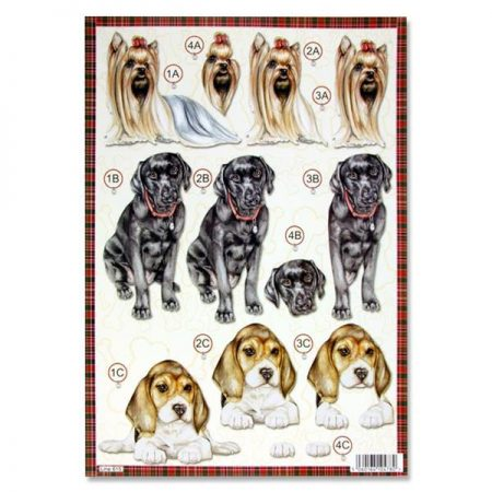 A4 Colourful Dogs Decoupage Sheet – Yorkie & Labrador