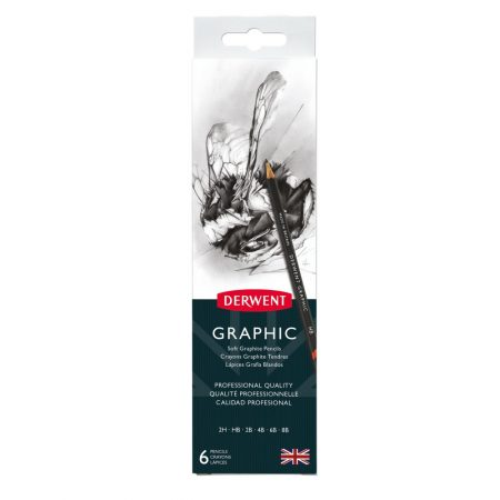 Derwent Tin Set 6 Graphic Soft Graphite Pencils