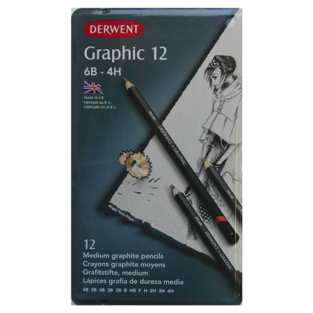 Derwent Graphic Set 12 Graphite Pencils 6B-4H