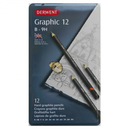 Derwent Graphic Set 12 Graphite Pencils B-9H