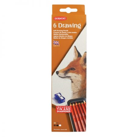 Derwent Tin Set 6 Soft Drawing Pencils