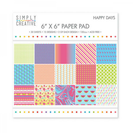 "Simply Creative ™ Happy Days 6"" x 6"" Paper Pad"
