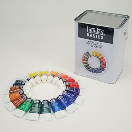 Liquitex Basics 18 Tubes Acrylic Paint and Large Tin box