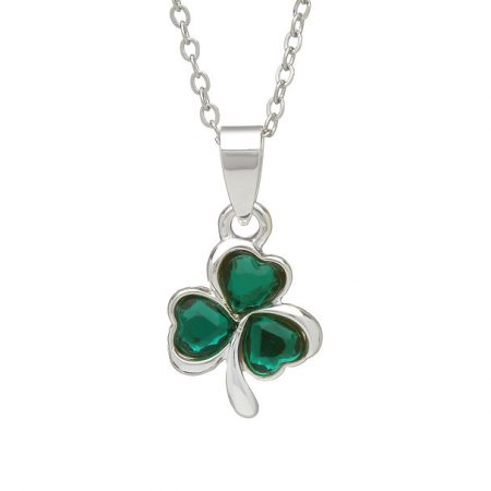 Silver Plated Green Stone Shamrock
