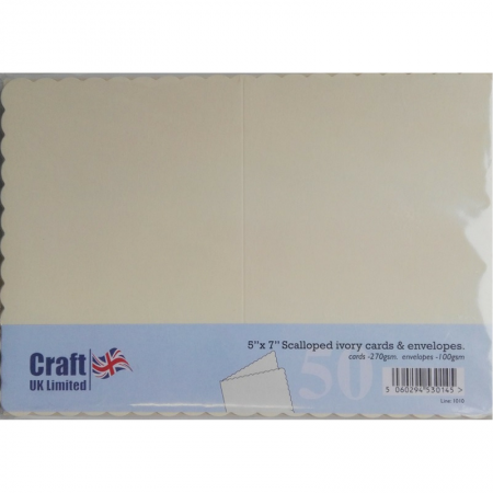 "Craft UK Ltd. 5"" x 7"" Scalloped Ivory Cards & Envelopes"