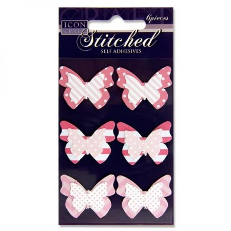 Icon Craft 3D Stitched Pink Butterfly Embellishments