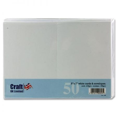 "Craft UK Ltd. 5"" x 7"" White Cards & Envelopes"